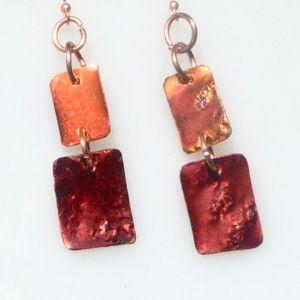 Modernist Minimalist Red Orange Copper Earrings
